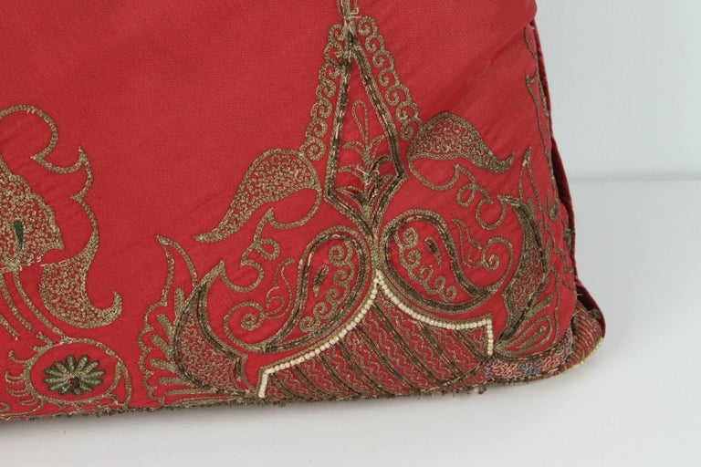 Hand-Crafted Pair of Antique Turkish Ottoman Silk Pillows with Metallic Threads For Sale