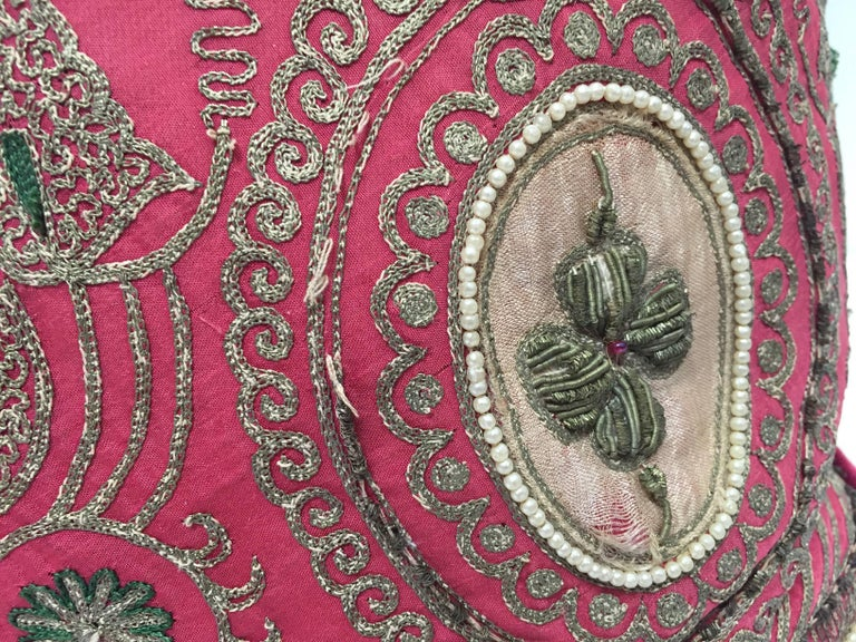Pair of Antique Turkish Ottoman Silk Pillows with Metallic Threads For Sale 2