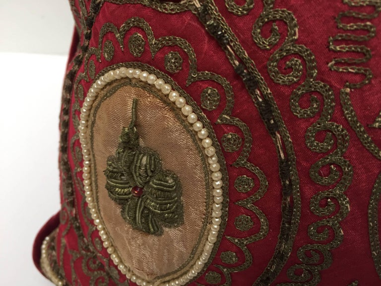 Pair of Antique Turkish Ottoman Silk Pillows with Metallic Threads For Sale 4