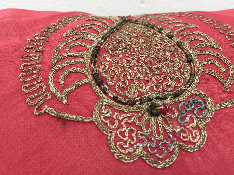 Pair of Antique Turkish Ottoman Silk Pillows with Metallic Threads For Sale 6