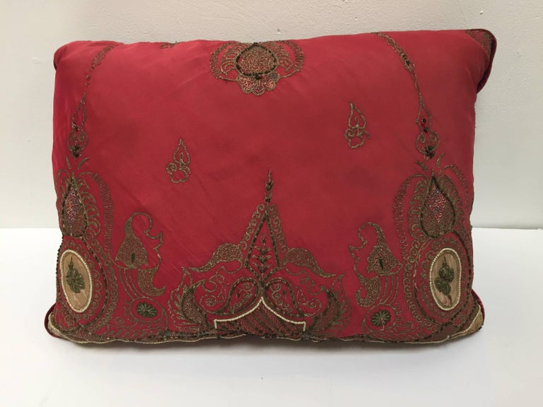 Pair of Antique Turkish Ottoman Silk Pillows with Metallic Threads For Sale 7