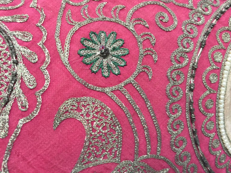 Pair of Antique Turkish Ottoman Silk Pillows with Metallic Threads For Sale 8