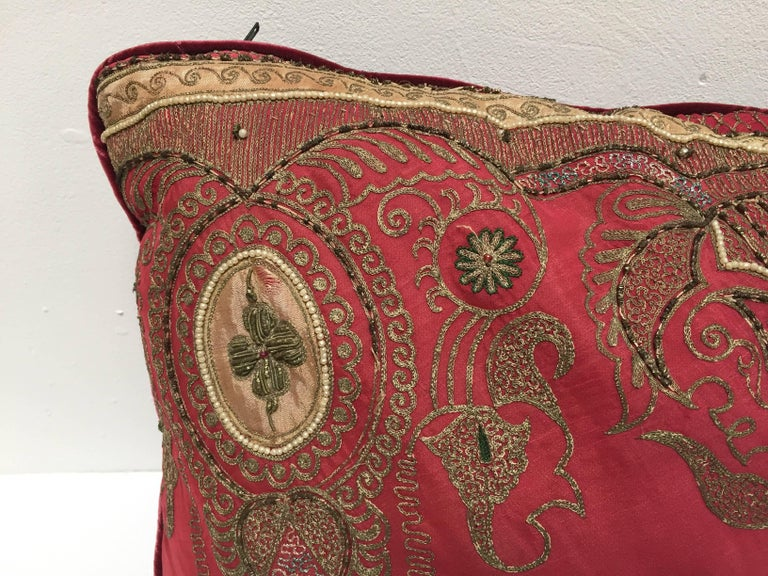 Pair of Antique Turkish Ottoman Silk Pillows with Metallic Threads For Sale 9