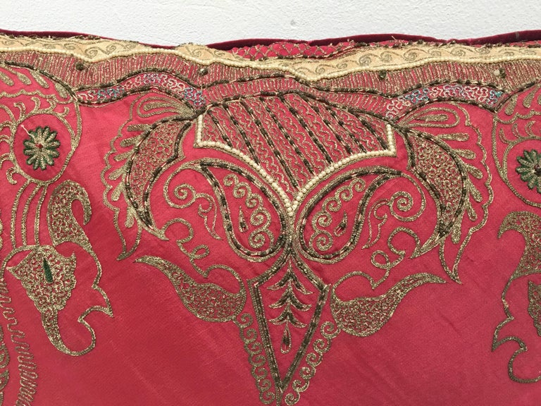 Pair of Antique Turkish Ottoman Silk Pillows with Metallic Threads For Sale 10