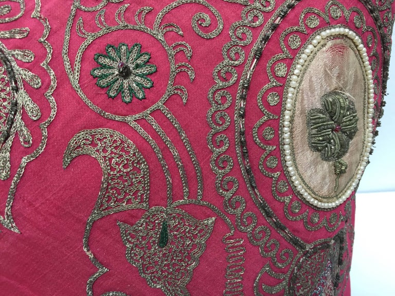 Pair of Antique Turkish Ottoman Silk Pillows with Metallic Threads For Sale 11