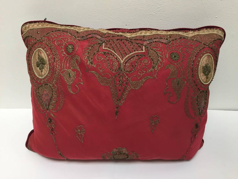 Pair of Antique Turkish Ottoman Silk Pillows with Metallic Threads For Sale 12