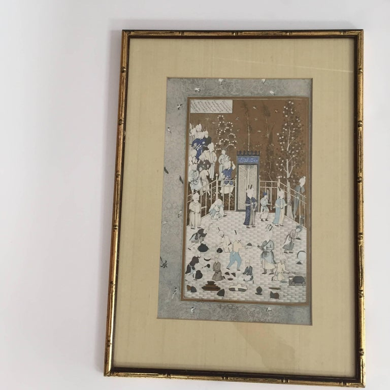 Anglo Raj After a 16th Century Indian Mughal Style Miniature Painting For Sale