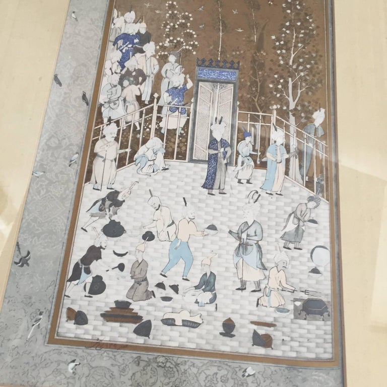 After a 16th Century Indian Mughal Style Miniature Painting In Good Condition For Sale In Los Angeles, CA