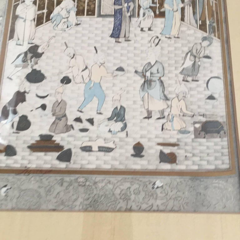 20th Century After a 16th Century Indian Mughal Style Miniature Painting For Sale