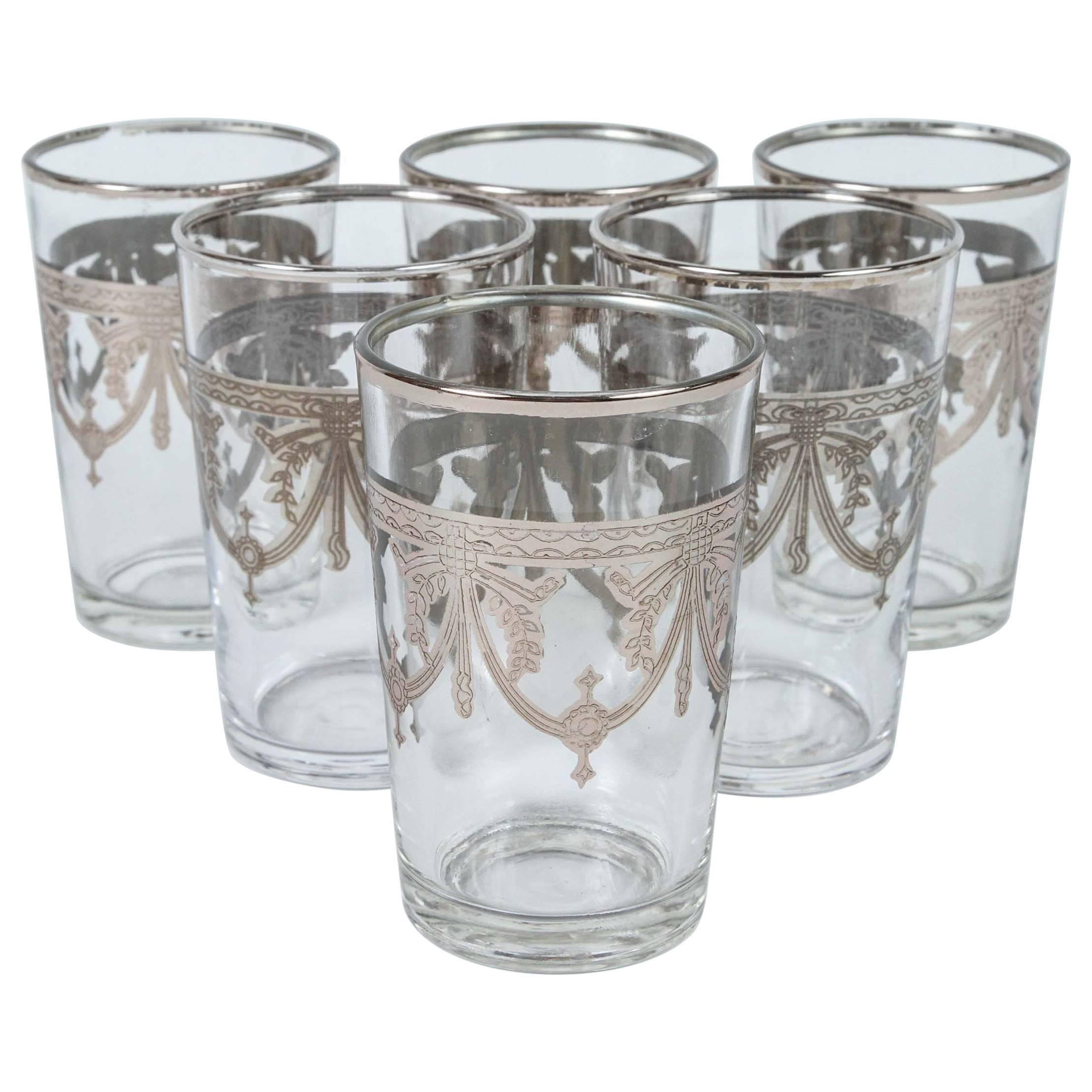 Set of Six Glasses with Silver Overlay Raised Moorish Design