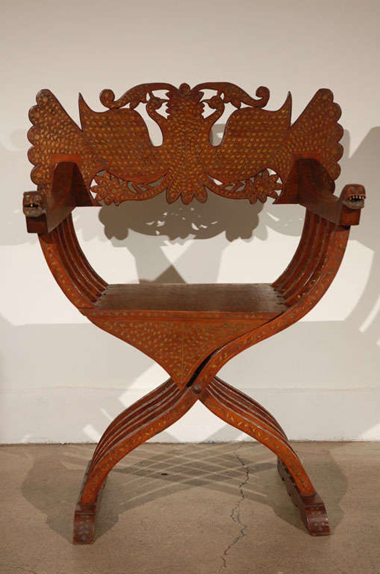 Anglo-Indian Savonarola-Type Brass Inlaid Armchair For Sale 4
