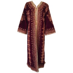 Moroccan Caftan Maroon Velvet Embroidered with Gold Kaftan, circa 1970