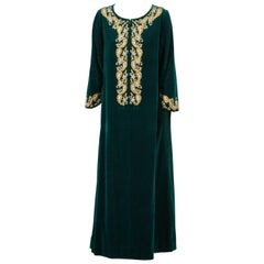 Silk Velvet Caftan by I. Magnin Designer Maxi Dress Kaftan, 1970 Emerald Green