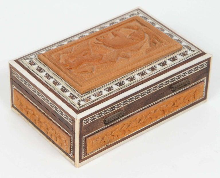 Anglo Raj Anglo-Indian Vizagapatam Jewelry Inlaid Sadeli Box For Sale