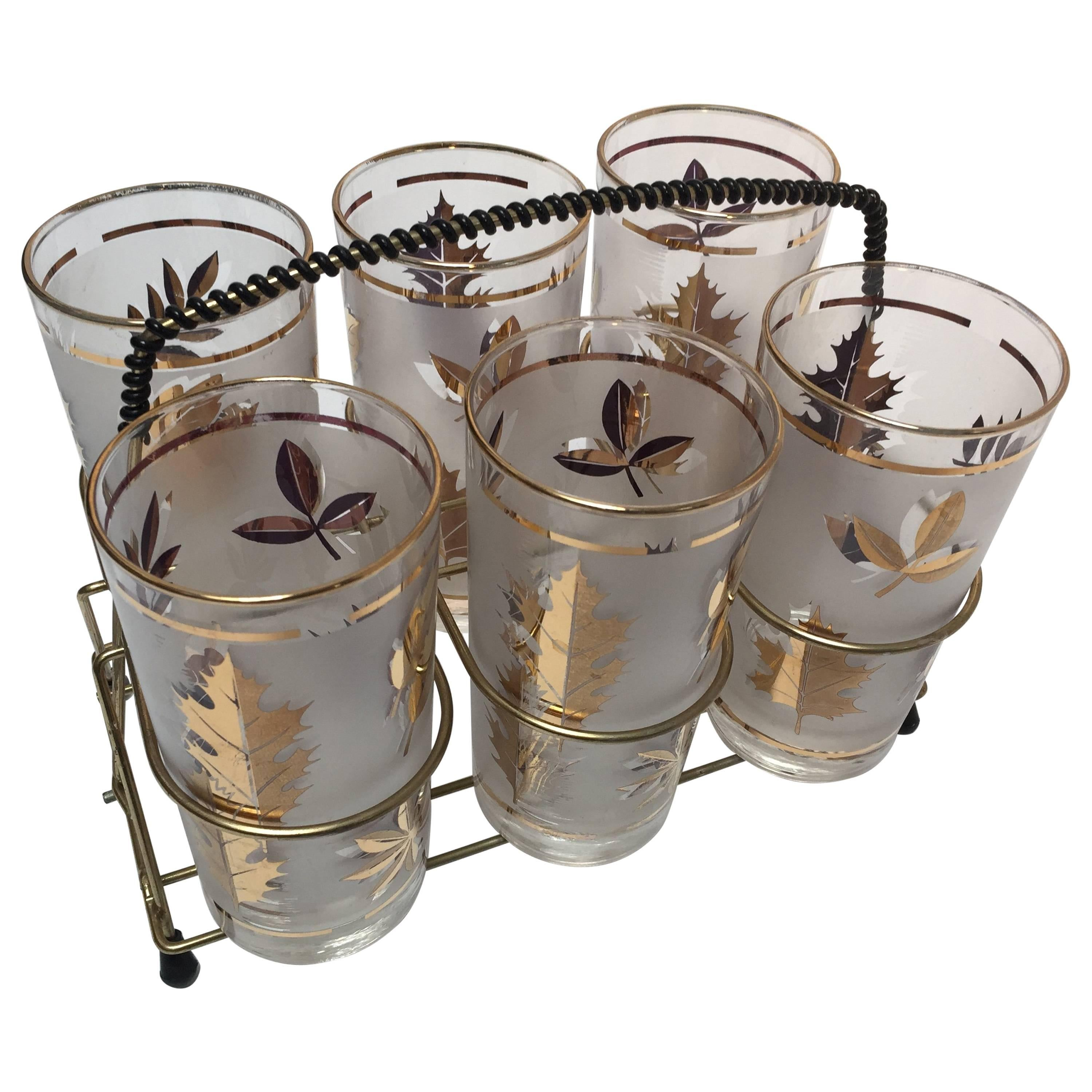 Midcentury Libbey Set of Six Highball Frosted and Gold Glasses in Brass Cart