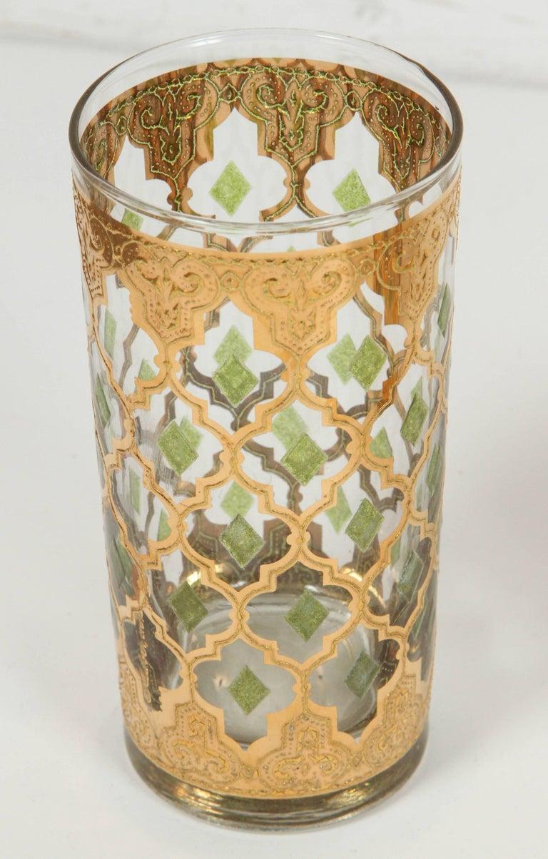Moorish Vintage Set of Eight Culver Highball Glasses with 22-Karat Gold Valencia Design For Sale