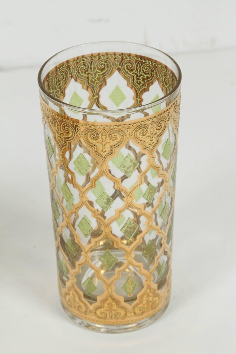 American Vintage Set of Eight Culver Highball Glasses with 22-Karat Gold Valencia Design For Sale