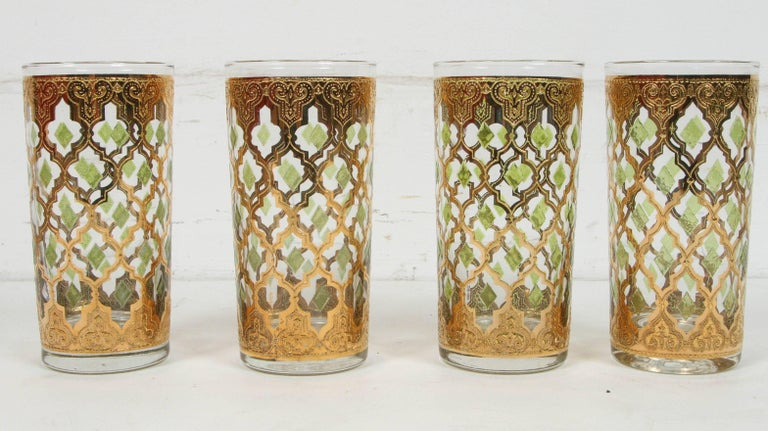 Hand-Painted Vintage Set of Eight Culver Highball Glasses with 22-Karat Gold Valencia Design For Sale