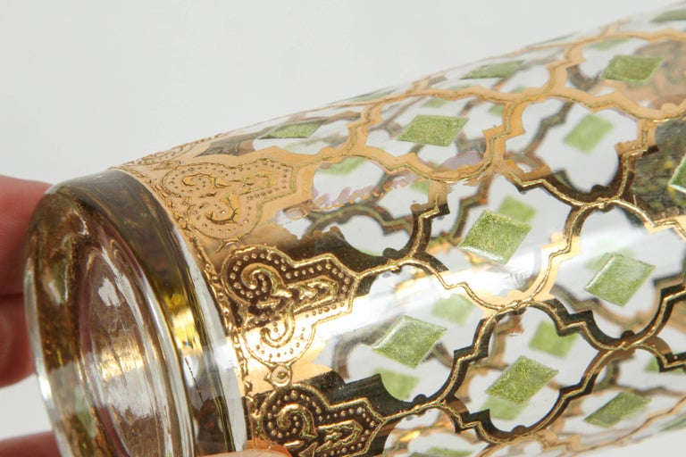 20th Century Vintage Set of Eight Culver Highball Glasses with 22-Karat Gold Valencia Design For Sale