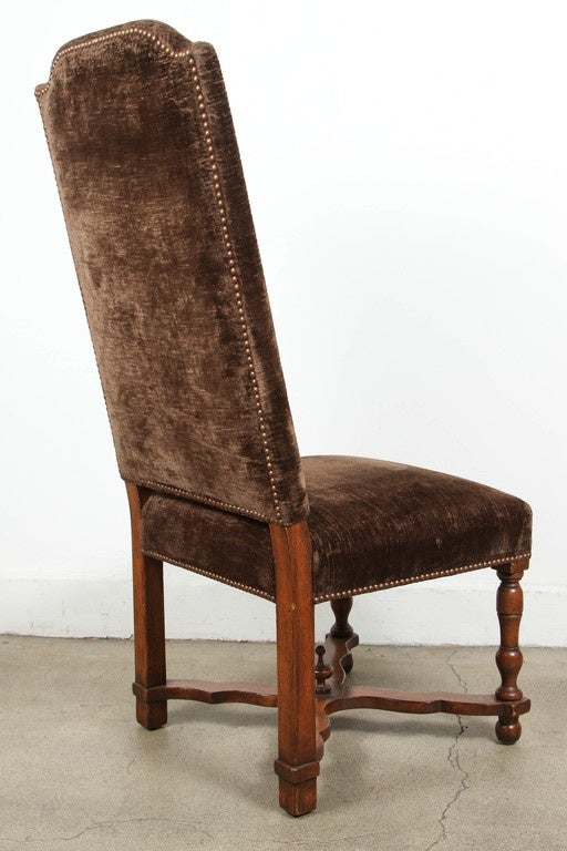 set of 12 high back brown velvet spanish dining chairs at