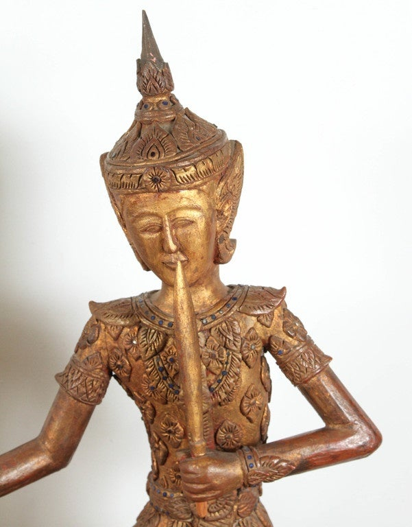 Hand carved thai temple gilted sculptures for sale at stdibs