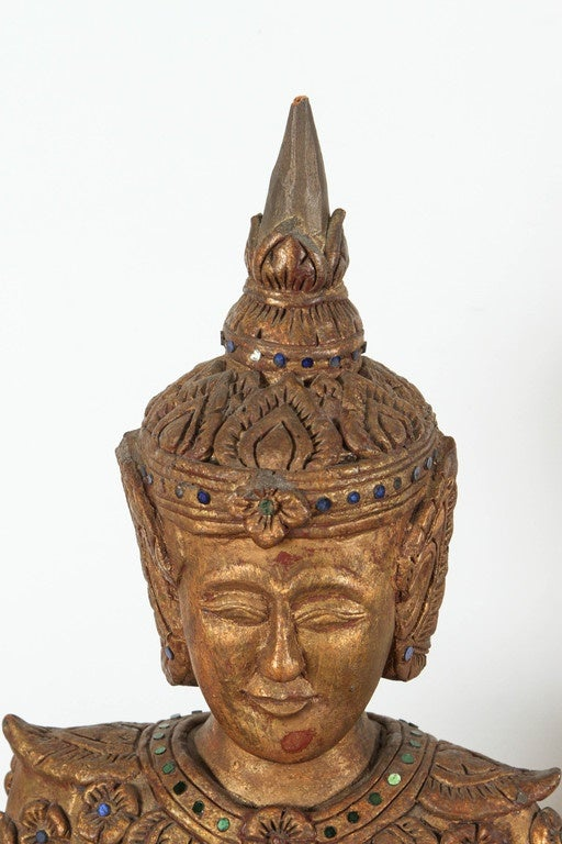 Hand-Carved Thai Temple Gilded Sculptures For Sale 1