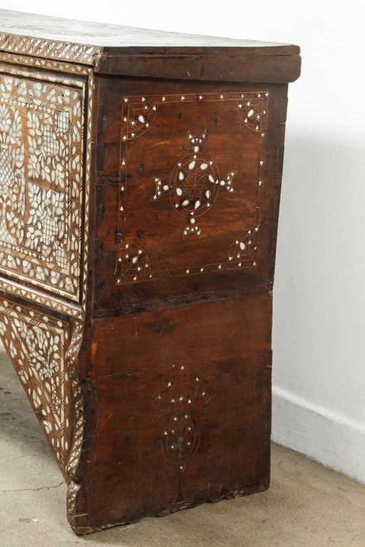 19th Century Antique Syrian Mother Of Pearl Inlay Wedding