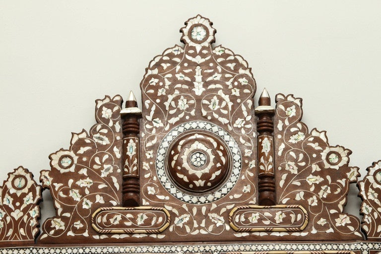 Palatial Oversized Syrian Mother of Pearl Inlaid Mirror For Sale 2