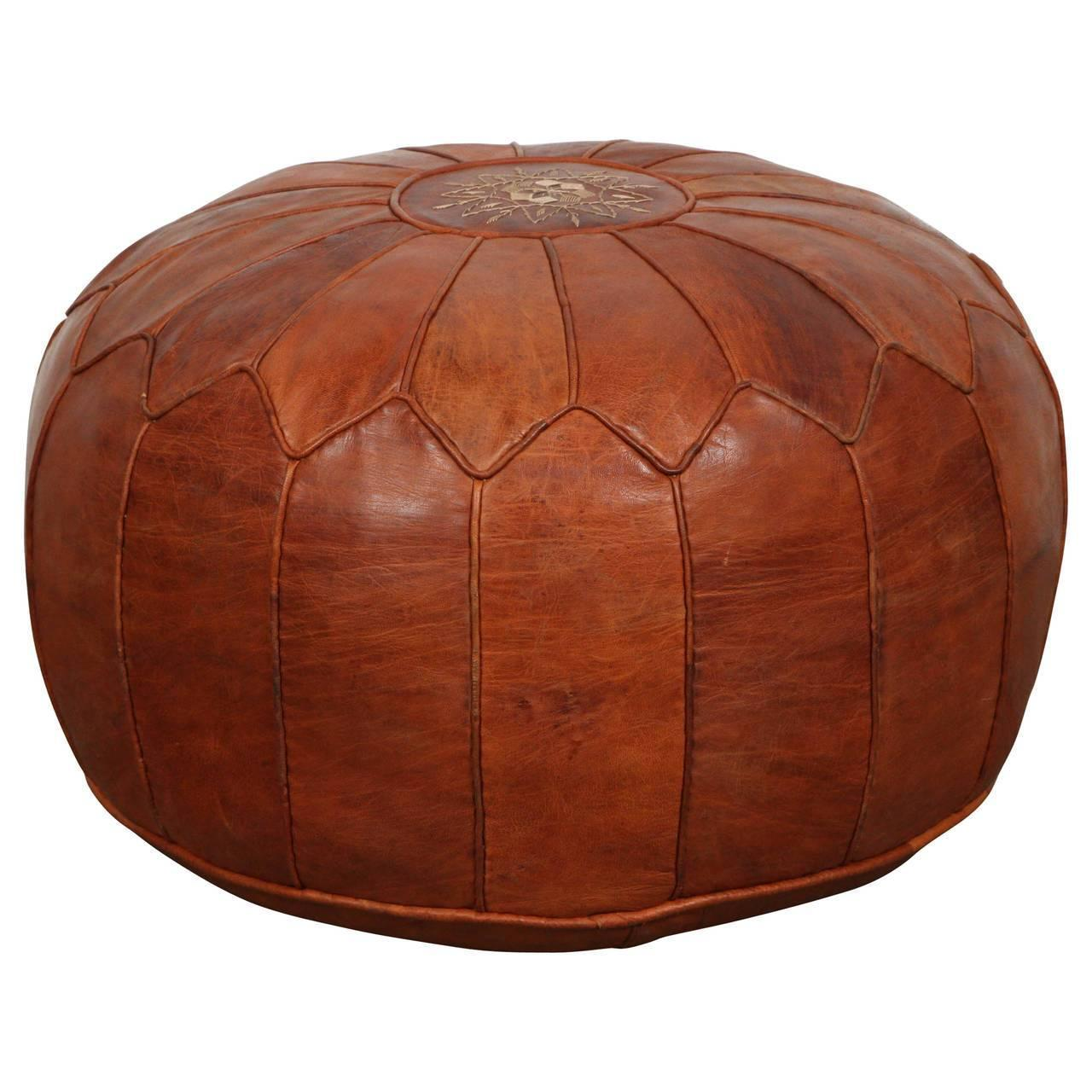 large vintage moroccan leather pouf at 1stdibs. Black Bedroom Furniture Sets. Home Design Ideas