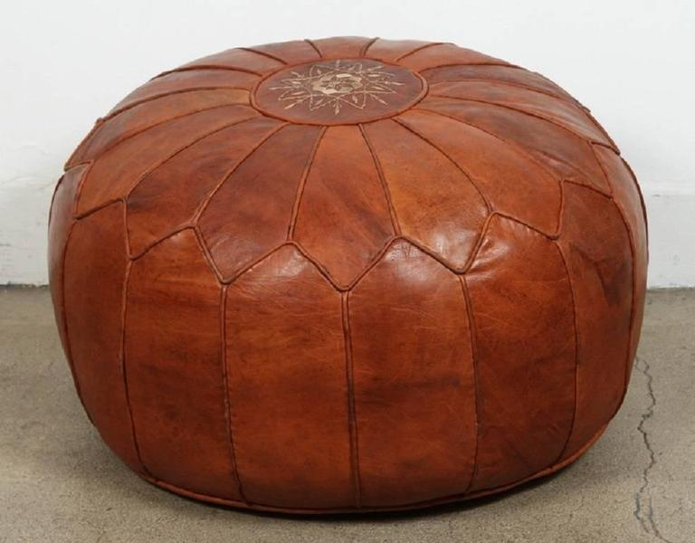 Large Vintage Moroccan Leather Pouf At 1stdibs