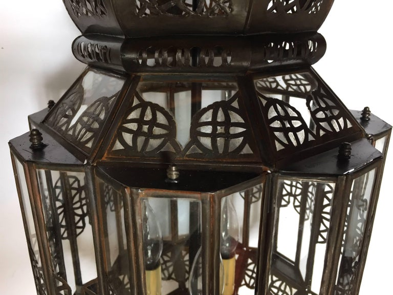 Moroccan Moorish Clear Glass Lantern For Sale 9