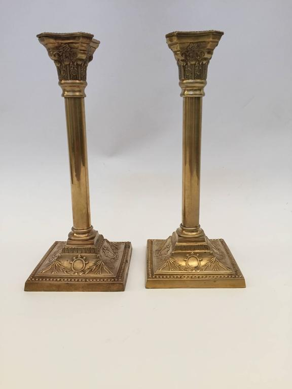 Pair of Georgian Brass Candlesticks For Sale 4