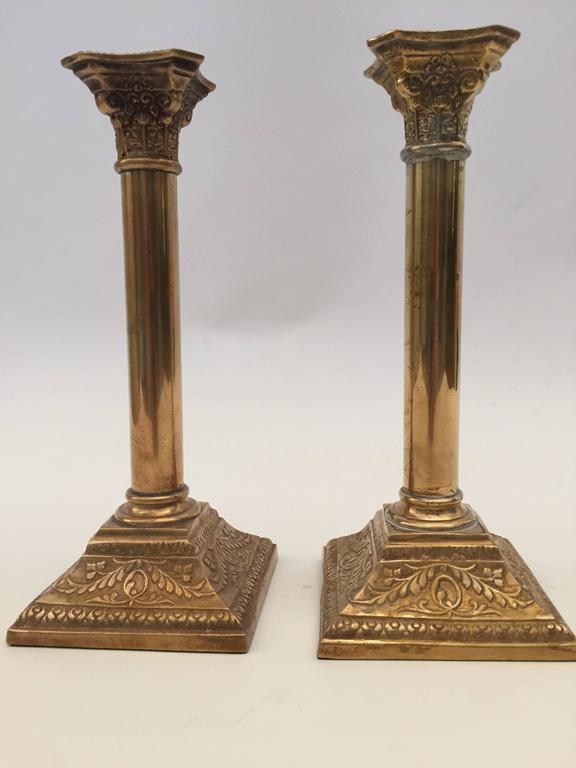 British Pair of Georgian Brass Candlesticks For Sale