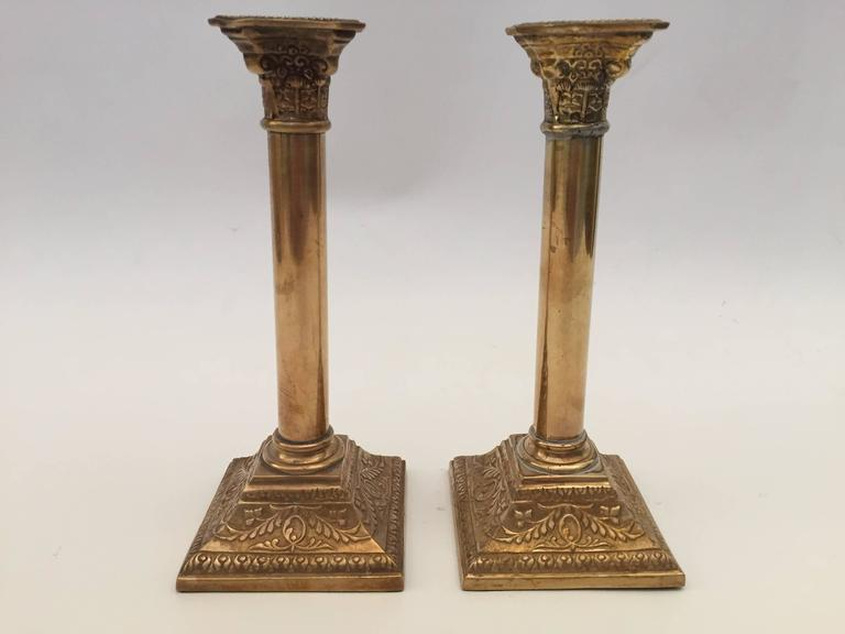 Hand-Crafted Pair of Georgian Brass Candlesticks For Sale
