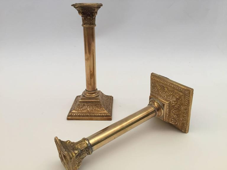 19th Century Pair of Georgian Brass Candlesticks For Sale