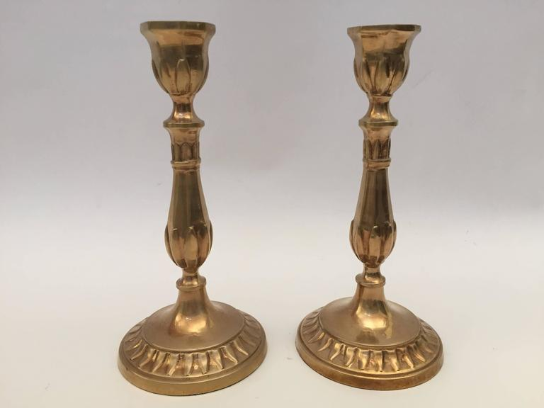 Hand-Crafted Pair of Antique French Candlesticks For Sale
