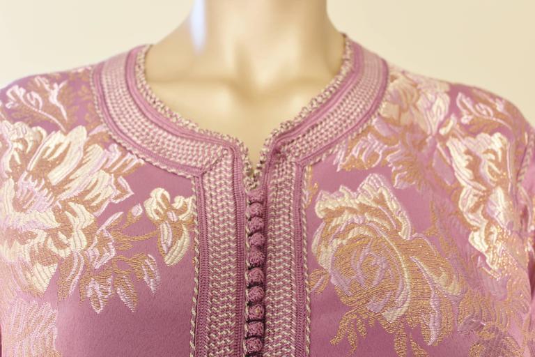 Moorish Moroccan Purple Brocade Caftan Gown Maxi Dress Kaftan Size M For Sale