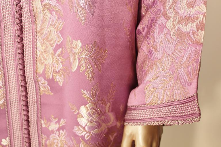 Moroccan Purple Brocade Caftan Gown Maxi Dress Kaftan Size M For Sale 1