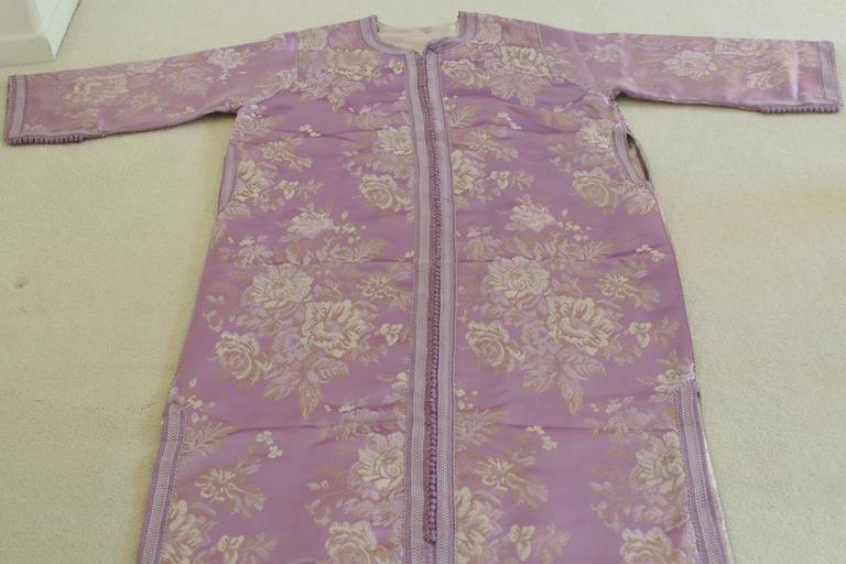Moroccan Purple Brocade Caftan Gown Maxi Dress Kaftan Size M For Sale 4