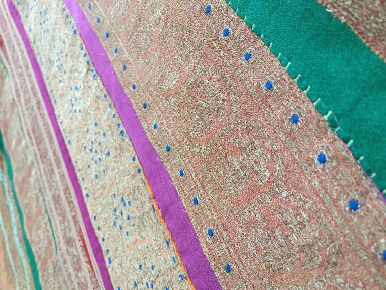 Moorish Silk Sari Textile Quilt Patchwork, India For Sale