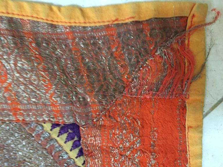 Silk Sari Textile Quilt Patchwork, India For Sale 2
