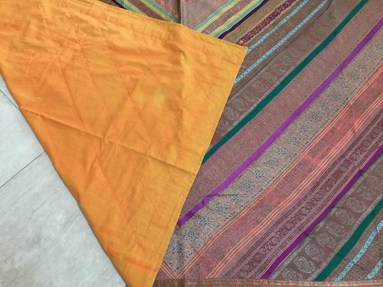 Early 20th Century Silk Sari Textile Quilt Patchwork, India For Sale