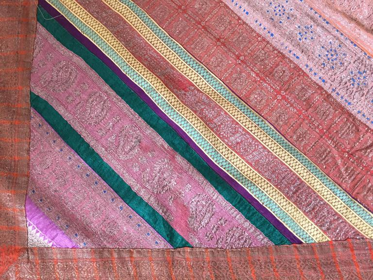 Hand-Crafted Silk Sari Textile Quilt Patchwork, India For Sale