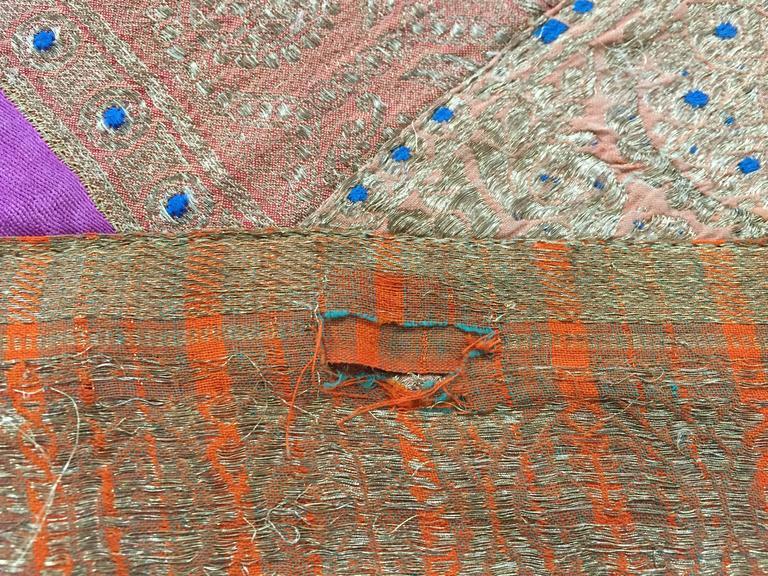 Silk Sari Textile Quilt Patchwork, India For Sale 1