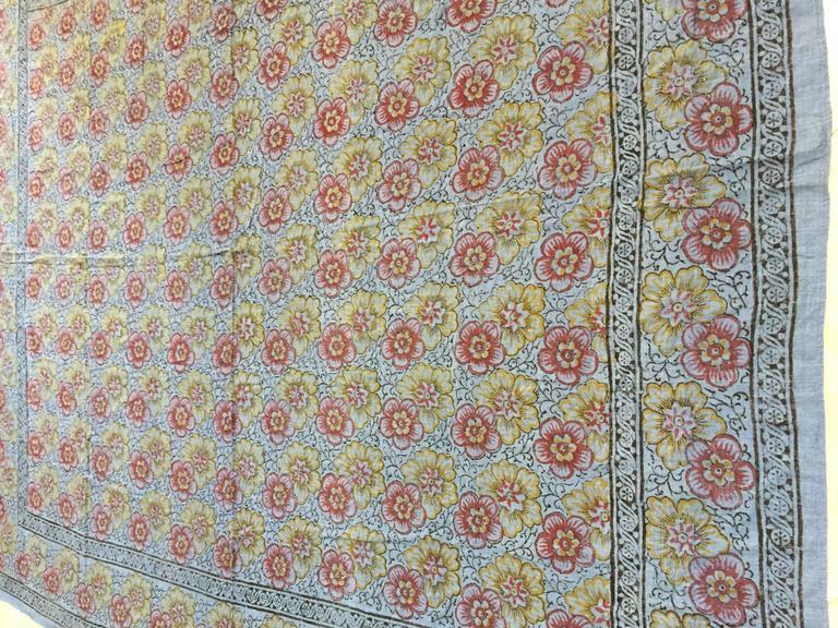 Indian Kalamari Blue Textile from India For Sale