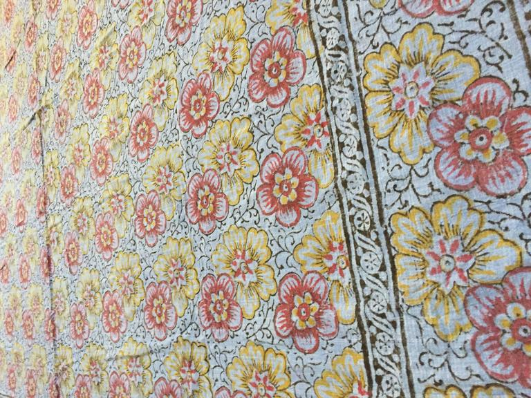 Hand-Crafted Kalamari Blue Textile from India For Sale