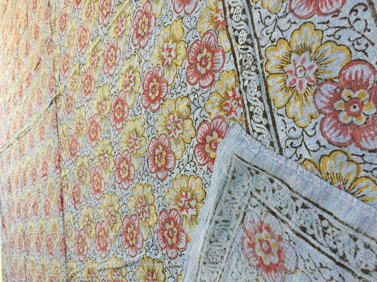 20th Century Kalamari Blue Textile from India For Sale