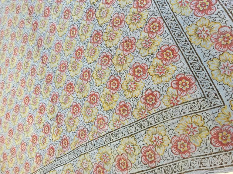 Cotton Kalamari Blue Textile from India For Sale