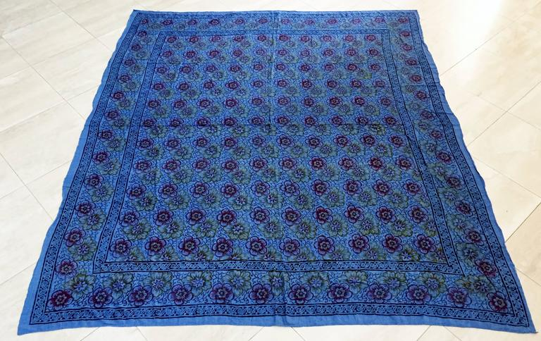 """Vintage Kalamkari blue with flowers textile from India. Hand blocked vegetable and iron oxide dyes on cotton. The fabric is printed using patterned wooden stamps. Made in India, circa 1970 Qalamkari literally """"pen-workmanship,"""" are block-printed"""