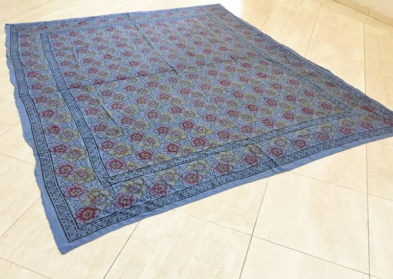 Anglo-Indian Kalamari Blue Textile from India For Sale